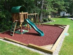 Photo of Done Right Landscape - Newton, MA, United States. In Ground Custom Playground with Rubber Mulch