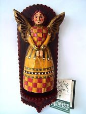 PAM SCHIFFERL AMERICAN FOLK ART GALLERY XMAS PATCH WORK QUILT ANGEL FIGURINE