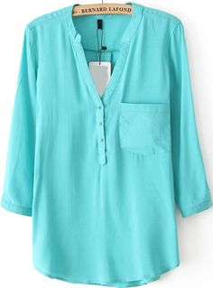 V Neck With Pocket Green Blouse