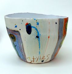 'Ink flower' | Ceramic pot with multiple flower reference, d… | Linda Styles makes clay works that look like abstract paintings. ~CAWeStruck