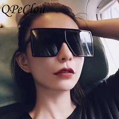 d92a42d844  SUNGLASSES  NEW QPeClou Oversized Square Sunglasses Women Big Frame Shield Sun  Glasses Men Brand