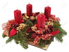 Advent Wreath With Red Candles Isolated On White. Royalty Free Stock Photo, Pictures, Images And Stock Photography. Christmas Wedding Centerpieces, Christmas Floral Arrangements, Christmas Tablescapes, Christmas Table Decorations, Christmas Candles, Christmas Advent Wreath, Christmas Time, Christmas Crafts, Candle In The Dark