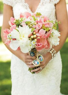 Lovely pink and white bouquet by The French Bouquet. Photo by Brittney Ashton Photography. #wedding #bouquet #pink #locket