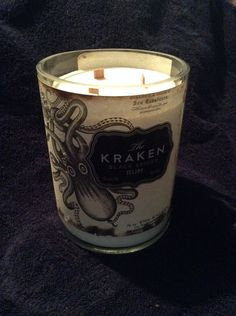 Hand made kraken rum candle with 3 wood wicks by 2Guys1Bottle, $55.00