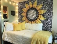 Our Black Sunflower Tapestry is a Tapestry Girls EXCLUSIVE! The unique yellow sunflower design paired against its detailed black and white background make this piece a tapestry staple! Get this tapestry today! Cute Bedroom Ideas, Cute Room Decor, Teen Room Decor, Room Decor Bedroom, Yellow Room Decor, Yellow Rooms, Bedroom Inspo, Yellow Walls Bedroom, Dorm Room Themes