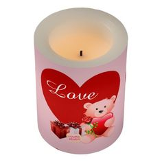 Cute Bear with Heart Valentines' Day Candle