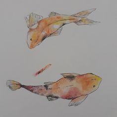 #art #koipond #koi #pond #drawing #watercolor Pond Drawing, Koi, Tattoo Ideas, Watercolor, Drawings, Painting, Pen And Wash, Watercolor Painting, Painting Art