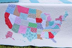 US Map Quilt Instructions Quilting For Beginners, Quilting Tutorials, Quilting Projects, Quilting Designs, Sewing Projects, Quilting Ideas, Map Quilt, Quilt Blocks, Quilt Patterns Free