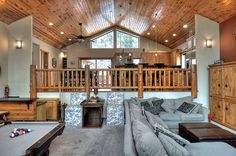 Big Bear Cabin #39 Gold Rush Resort 4Bed/3 Bath Great for Families! To Book call (310) 800-5454 or click the image! #BigBear #vacation #5starvacation #billiards #kitchen #livingroom