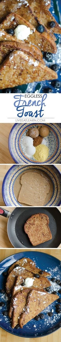 How about this for an oxymoron? EGGLESS French toast! How you say? A vegan's secret ingredient...nutritional yeast! This is the perfect breakfast recipe for vegans, vegetarians, and meat-eaters alike!