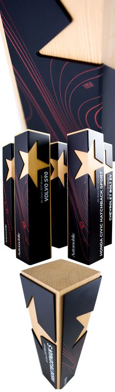 A customized version of one of our most modern designs. Automobile Magazine commissioned us to design these awards for their 2017 All Stars event. Made from Douglas Fir and anodized aluminium, we UV printed a topographical map of the Willow Springs Raceway and CNC cut the star shape. This award delivers a modern aesthetic and a difference that is unlike anything else on the market.