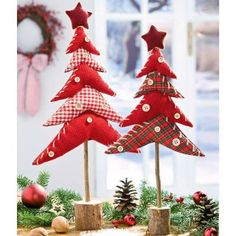 Fabric Christmas Trees on dowels with a wooden base. Fabric Christmas Trees, Diy Christmas Tree, Homemade Christmas, Christmas Projects, Christmas Time, Christmas Ornaments, Xmas Trees, Christmas Makes, All Things Christmas