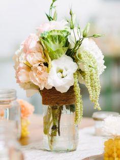 Mason Jar Vases- Hemp Wrapped