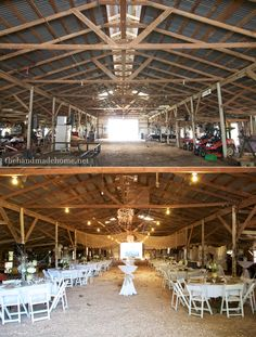 barn_before_and_after burlap from ceiling  burlap wrapped hula hoops and light chandeliers