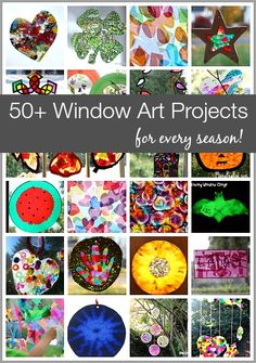50+ Window Art Projects for Every Season and Holiday! Sun catcher crafts using tissue paper, crayon shavings, craft beads, and more! ~ BuggyandBuddy.com