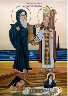 Anthony The Great, Saint Antony, Greek Icons, Roman Church, Christian Pictures, Byzantine Icons, Catholic Art, Art Icon, Religious Icons