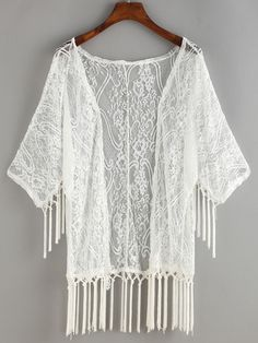 Fringe Open-Front Cover-Up Lace Blouse.