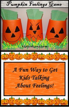 Pumpkin Feelings Game: A fun way to get kids talking about feeings. #ece #preschool #parenting #Halloween #activity