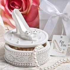 Shop Magic Shoe Design Trinket Boxes at Elegant Gift Gallery. We're your number one source for bridal shower favors. Find FashionCraft favors at discount prices! Cinderella Shoes, Cinderella Party, Cinderella Decorations, Valentine Decorations, Princesa Tiana, Elegant Wedding Favors, Wedding Ideas, Wedding Fun, Blue Wedding