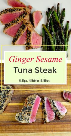 3 reviews · 17 minutes · Gluten free · Serves 2 · Ginger Sesame Tuna Steak. A simple marinade of soy sauce, freshly grated ginger, wasabi, and sesame oil gives the tuna a remarkable depth of flavor and only needs a few minutes to marinate. #tuna… More Easy Tuna Recipes, Tuna Steak Recipes, Side Dish Recipes, Seafood Recipes, Sauce For Tuna Steak, Dinner Recipes, Mi Recipe, Ground Meat Recipes, Tuna Steaks