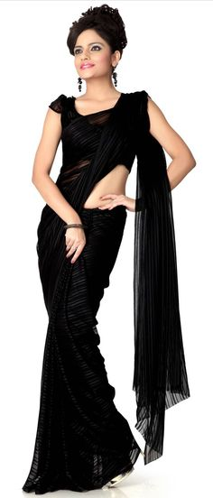 #Black Faux chiffon #Saree With Blouse @ $17.94