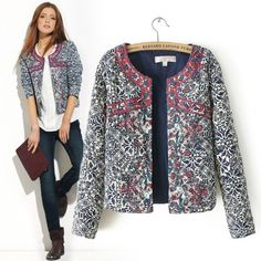 New Fashion Women Vintage Ethnic Embroidered Floral Print Quilted Coat Jacket Cardigan