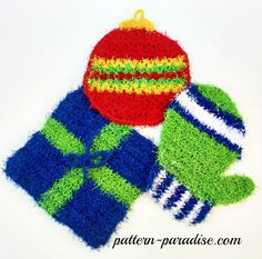 Free pattern for holiday scrubbies, dishcloth, washcloth by Pattern-Paradise.com, 12 Weeks of Christmas Blog Hop CAL, #crochet #12WeeksChristmasCAL #scrubby
