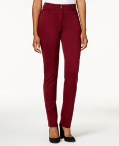 Style & Co Faux-Pocket Slim-Fit Pants, Created for Macy's - Red 14