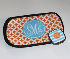 Monogrammed Makeup Bag  and matching compact mirror by happythoughtsgifts, $32.00
