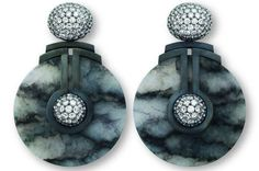 Silver, white gold, jade and white diamond earrings by Hemmerle.
