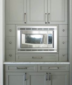 Built In Microwave Cabinet Gray Green Cabinet Paint Color - Cottage - kitchen - Benjamin Moore Gettysburg Gray - Love the cabinet color! Green Cabinets, Grey Kitchen Cabinets, Painting Kitchen Cabinets, Kitchen Taps, Kitchen Pantry, Built In Microwave Cabinet, Microwave Storage, Microwave Popcorn, Kitchen Vignettes