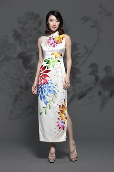 Colorful Lotus Embroidered Silk Cheongsam : EastStore.com