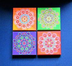 Pintura de punto Mandala en la lona pintura por BenDyerOriginalArt