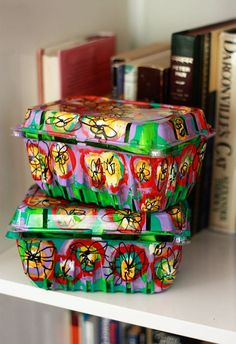 These colorful containers are plastic strawberry boxes. | 33 Impossibly Cute DIYs You Can Make With Things From Your Recycling Bin