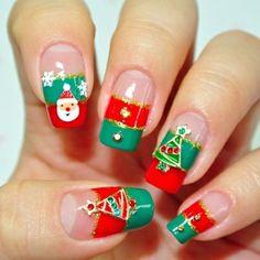 Very Merry Christmas Nails! #nailart #nailpolish #nails #christmastree #santa