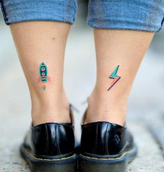 Hand-poked colorful bolt and rocket tattoos on both ankles by zzizziboy Party Tattoos, Mini Tattoos, Cute Tattoos, Unique Tattoos, Tatoos, Colorful Tattoos, Finger Tattoo For Women, Finger Tattoos, Body Art Tattoos