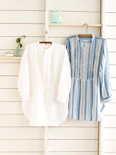 #PineConeHill Honfleur Linen Tunic. The cool comfort of linen in a relaxed tunic. Front panel with pintucks and button closure, mandarin collar, long sleeves, shirt-tail hem. #sleepwear