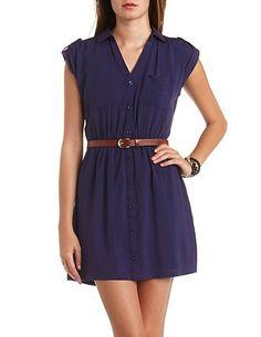 Button-Up Tab Sleeve Shirt Dress: Charlotte Russe