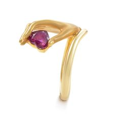 Carrera y Carrera Ruby Diamond Gold Hand Ring   From a unique collection of vintage more rings at https://www.1stdibs.com/jewelry/rings/more-rings/