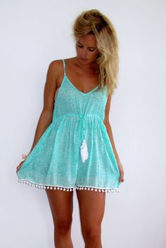 Mint Pom Pom Jumpsuit / Playsuit, Short Beach Dress, Mint Green and White Print Skort Shorts with White Pom Pom's