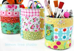 upcycled storage tins covered with vintage fabric patchwork (lemon tree studio)