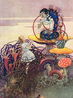 """lewis-carroll: """" Alice's Adventures in Wonderland illustrations by Gwynedd M. Lewis Carroll, Alice In Wonderland Print, Adventures In Wonderland, Wonderland Party, Alice Blue, Chenille, Through The Looking Glass, Caterpillar, Fantasy Art"""