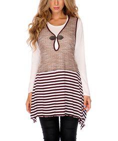 Another great find on #zulily! Mocha Stripe Keyhole Sleeveless Tunic by Lily #zulilyfinds