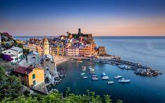 Lataa kuva Vernazza, Cinque Terre, Ligurian Sea, Liguria, Italia, illalla, sunset, matka