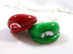 Mario Bros Inspired Best Friends Necklaces  Mario and by Outpost8, $10.00