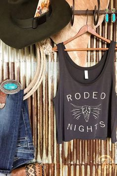 "- ""Rodeo Nights"" graphic crop tank - Rustic tan graphics with steer skull graphic - Soft charcoal scoop tank - Crop style that isn't too short, still hits at the hips of a long torso - Small fits size Cowgirl Outfits, Cowgirl Style, Western Outfits, Cute Summer Outfits, Cool Outfits, Fashion Outfits, Fashion Women, Country Casual, Country Girls"