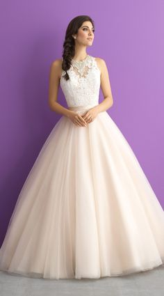 Allure Romance style 3011. With a jewel encrusted collar, lace bodice and sweeping train, this ball gown has pretty written all over it! Adore! @allurebridals #AllureRomance #wedding #bridal #ad #weddingdress #romantic #ballgown #lace