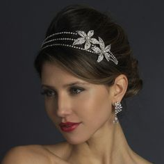 HP 668 AS White  Exceptionally fabulous, this headband features three bands lined with glittering rhinestones with two large sparkling flowers fully encrusted in more dazzling rhinestones with luminous pearl centers set to one side and set in stunning antique silver. You will be the belle of the ball with this unique and couture headpiece. #timelesstreasure