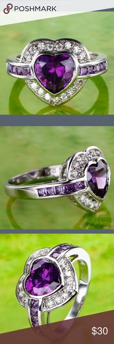 Ring Lingmei fashion heart cut amethyst and white topaz gemstone jewelry silver ring size 7. Gorgeous Jewelry Rings