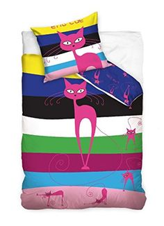 Maxi & Mini The Cat – Bedding Set Duvet Cover + Pad Teen Decor, Pink Stripes Cotton Teen Decor, Pink Cat, Pink Stripes, Duvet Covers, Textiles, Bed, Mini, Cotton, Stream Bed